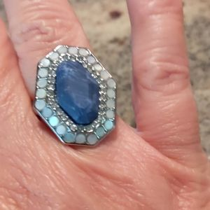 Chloe & Isabel Blue & Silver Ring Size 6 Like New